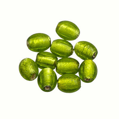 Lime Green Silver Lined Oval Glass Beads 10x8mm Pack of 10 (P26/2)