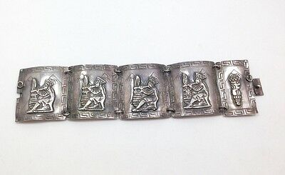 Vintage Peruvian Wide Storyteller Panel Bracelet 925 Sterling Silver 7 In Per...