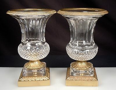 Pair Vintage French Crystal Ormolu Urns