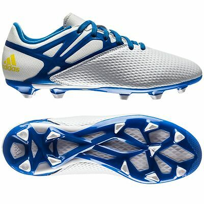 superior quality 05d57 c9045 adidas Boys Messi 15.3 FG Football Boots Junior Kids Girls White Blue Size  3,4