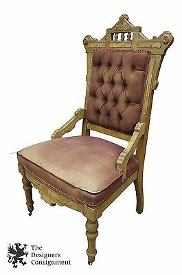 Antique Victorian Carved Accent Side Chair Eastlake Walnut Burl Tufted Pink  Seat