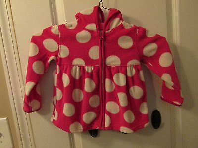 Girls Old Navy Pink with White Polka Dot Fleece Jacket with Hood 3T