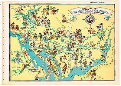 Ruth Taylor Vintage District Of Columbia Map Pictorial Washington D.c. 1935