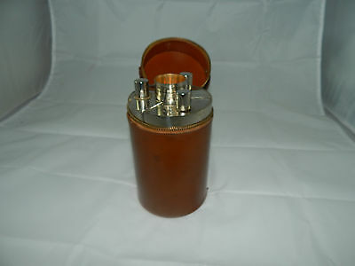 VINTAGE TRIPLE 13oz FLASKS 4 CUPS SET w/Leather Case ~ TIN LINED MADE IN GERMANY