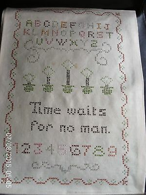"Sampler / cross stitch - ""Time waits for no man"" - unframed"