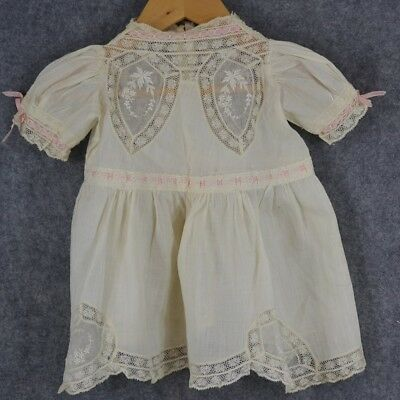 baby dress small lace cotton white antique vintage 1920-30 vg