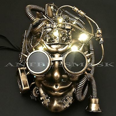 LED Light Up Flashing Full Face Halloween Steampunk  Party Mask With Goggles