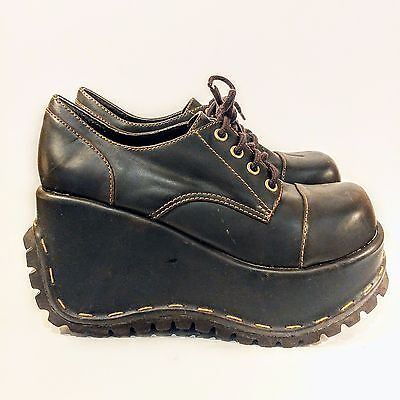 EX ~ Vintage SODA Creepers Heavy Tread Platform Shoes ~ Glam Punk Grunge ~ 8