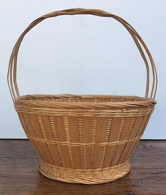 Vintage PROC Chinese Woven Splint Bamboo Open Detailed Carrying Basket Handle
