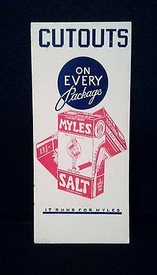 "Early MYLES SALT Blotter  ""CUTOUTS ON EVERY PACKAGE"" Boxed Salt"