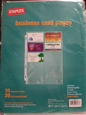 Staples Clear Business Card Pages - 10 pack - Brand New