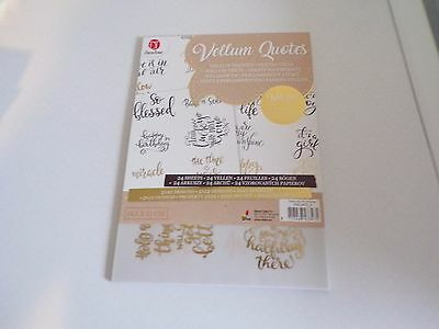 24 Sheets Vellum Quotes   With Foil/2X 12 Designs (F) 14,8 X 21 Cm New