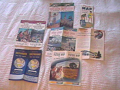 Lot Of 6 Advertising Greyhound Bus Timetables, Maps And Brochures - 50S !!