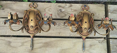 XLNT Pair Moe Bridges Floral Double Light Wall Sconces, Orig. Polychrome Finish