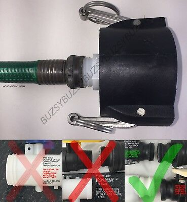 "275 330 GALLON IBC TOTE TANK DRAIN ADAPTER 2"" Cam Lock x Garden Hose Food Safe"