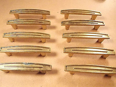 (10) Vintage 3 1/4'' Brass Plated Drawer /Cabinet Door Pull Handle  Art Deco