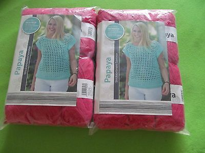 "2 x  Wolle Stricksortiment Sommer ""Papaya"" pink"