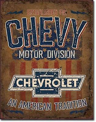 Chevy Motor Division Chevrolet American Tradition Vintage Style Metall Schild