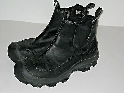 Keen Black Leather Ankle Boots Water Resistant Pull on Size 10