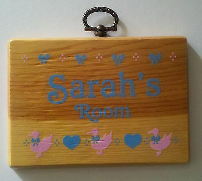 """Sarah's Room"" Wood Name Wall Plaque - Ducks - Hearts - Nursery - Baby Shower"