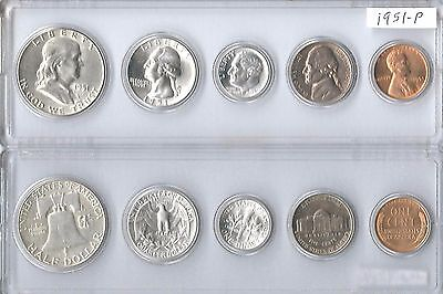 1951-P US Mint set - 5 Choice Brillaint Uncirculated coins in a Whitman holder