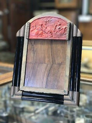 Antique Bronze Art Deco Picture Frame With Lithyalin Plaque