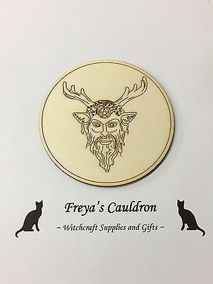Handcrafted Wooden Altar Tile with the Horned God ~ Cauldron ~ Ritual ~ Wicca