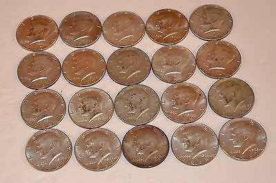 ONE ROLL 40% SILVER KENNEDY HALF DOLLARS 1965-69 (20 COINS) Auction 4