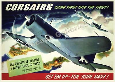 """Corsairs""  World War II Vintage Style Poster 17x24"