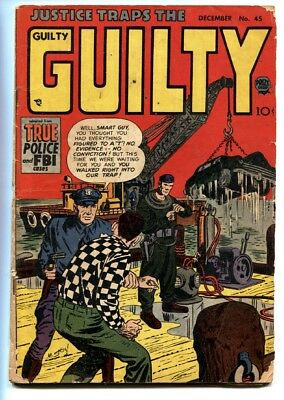 Justice Traps the Guilty #45 1952- Deep sea diver cover comic book