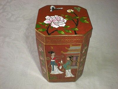Cloisonne Covered Tea Caddy or Trinket Box