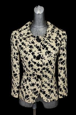 womens black tan floral CARLISLE blazer jacket quilted SILK cotton casual M 10
