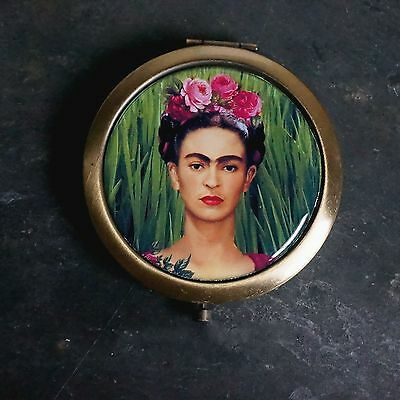 Round Compact Mirror/double Sided Mirror/purse Mirror/frida Kahlo Mexican Artist