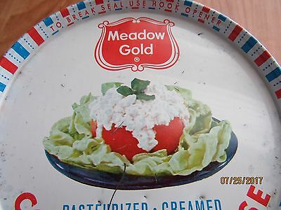Old 1946 Cottage Cheese Meadow Gold Metal Can Beatrice Foods Dairy Chicago