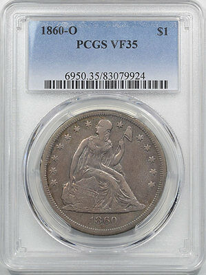 1860-O Liberty Seated Dollar, Pcgs Vf-35, Wholesome & Orig-From The Reeded Edge!