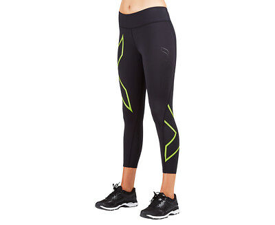 Women's 2XU 7/8 Mid Rise Compression Tights - Black/Bright Green