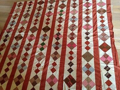 ANTIQUE Civil War Four Patch Quilt Top Hand Stitched And Machine Stitched
