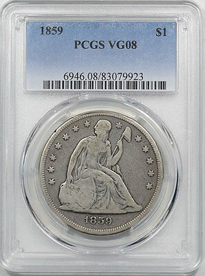1859 Liberty Seated Dollar, Pcgs Vg-8, Wholesome & Orig-From The Reeded Edge!