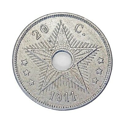 1911 Belgian Congo 20 Centimes *FREE USA & LOW INTL. SHIPPING*