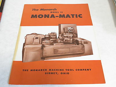 * Vintage The Monarch Model Mona Matic Machinist Brochure *