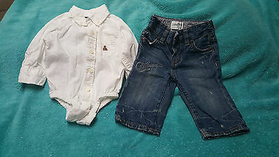 Boys Size 3-6 Months Baby Gap ( White Body Suit & Guitar Jean ) Outfit