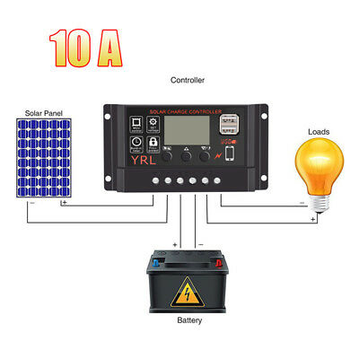 PWM 10/20/30A Solar Panel Charge Regulator 12/24V Auto LCD Solar Controller USB