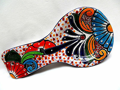 "Talavera Pottery MEXICO Hand Painted Multi-Color Floral Spoon Rest 10"" Long"