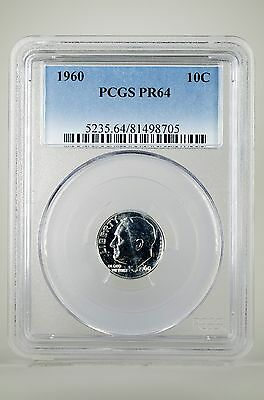 Pr64 1960 90% Silver Roosevelt Dime Pcgs Graded 10C Proof Very Rare Us Coin !!!