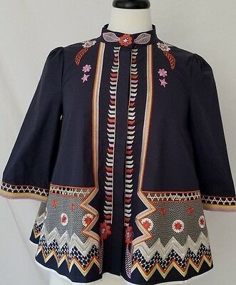 Yashiyue Japenese Style Embroidered Bell Shaped Womens Blouse SZ Small