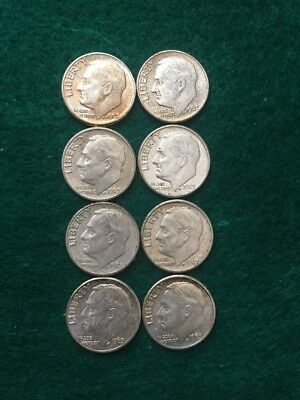 Lot Of 1963D Dimes - 8 Coins - 90% Silver