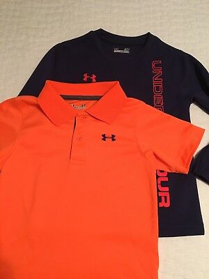 Lot 2 Boys Under Armour Toddler Polo Shirt and Under Armour Long Sleeve, Size 3T
