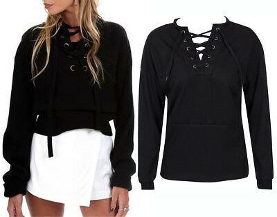 Fashion Women V Neck Cross Tie Lace Up Long Sleeve T-Shirt Sexy Coat Top Blouse