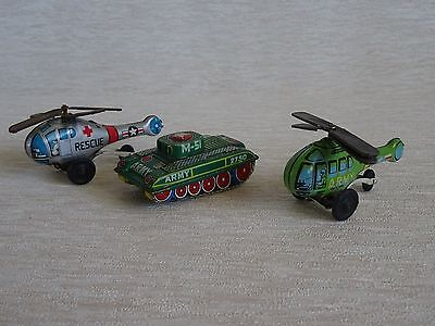 Genuine Japanese Vintage Friction Tin Toy M-51 Army tank & 2 x Helicopters