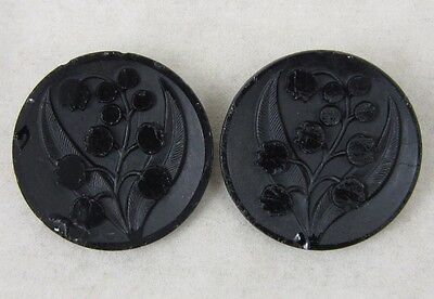 Antique Victorian Black Glass Picture Buttons~ Lily of Valley~ 2 Matching Large